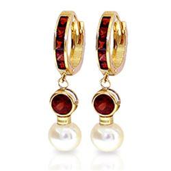 Genuine 4.3 ctw Garnet & Pearl Earrings Jewelry 14KT Yellow Gold - REF-47W5Y