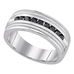 0.50 CTW Mens Black Color Diamond Wedding Ring 10KT White Gold - REF-71N9F