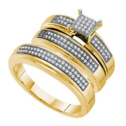 0.35 CTW His & Hers Diamond Cluster Matching Bridal Ring 10KT Yellow Gold - REF-64K4W