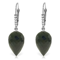 Genuine 24.65 ctw Black Spinel & Diamond Earrings Jewelry 14KT White Gold - REF-46T7A