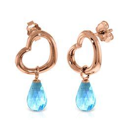 Genuine 4.5 ctw Blue Topaz Earrings Jewelry 14KT Rose Gold - REF-42M6T