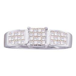 0.50 CTW Princess Diamond Cluster Bridal Engagement Ring 14KT White Gold - REF-30N2F