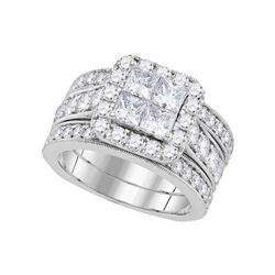 3 CTW Princess Diamond Halo Bridal Engagement Ring 14k White Gold - REF-389H9M