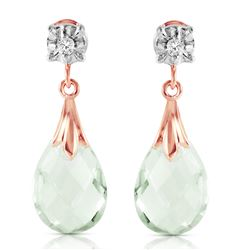 Genuine 6.06 ctw Green Amethyst & Diamond Earrings Jewelry 14KT Rose Gold - REF-37P4H