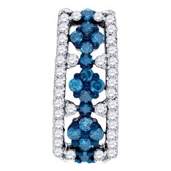 0.51 CTW Blue Color Diamond Cluster Vertical Pendant 10KT White Gold - REF-26N9F