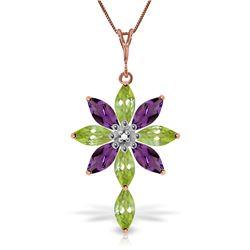 Genuine 2.0 ctw Peridot, Amethyst & Diamond Necklace Jewelry 14KT Rose Gold - REF-47R4P