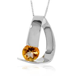 Genuine 1 ctw Citrine Necklace Jewelry 14KT White Gold - REF-50Y5F