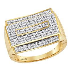 0.75 CTW Mens Pave-set Diamond Rectangle Cluster Ring 10KT Yellow Gold - REF-89W9K