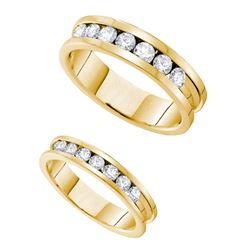 1.55 CTW His & Hers Diamond Matching Bridal Ring 14KT Yellow Gold - REF-209Y9X