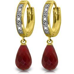 Genuine 6.64 ctw Ruby & Diamond Earrings Jewelry 14KT Yellow Gold - REF-50A2K