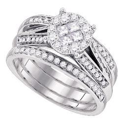 1 CTW Princess Diamond Soleil Bridal Engagement Ring 14KT White Gold - REF-146H9M