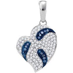 0.25 CTW Blue Color Diamond Heart Pendant 10KT White Gold - REF-25W4K