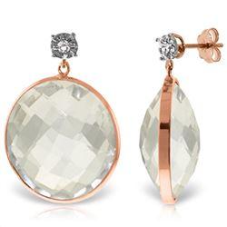 Genuine 36.06 ctw White Topaz & Diamond Earrings Jewelry 14KT Rose Gold - REF-56V3W