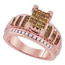 0.99 CTW Princess Cognac-brown Color Diamond Bridal Ring 10KT Rose Gold - REF-67F4N