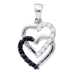 0.30 CTW Black Color Diamond Linked Joined Hearts Pendant 14KT White Gold - REF-25K4W