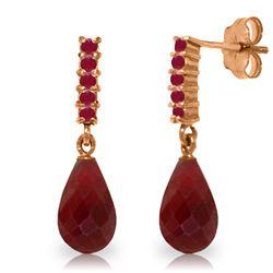 Genuine 7 ctw Ruby Earrings Jewelry 14KT Rose Gold - REF-32Y3F