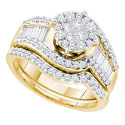 1.25 CTW Princess Diamond Bridal Engagement Ring 14KT Yellow Gold - REF-142M4H