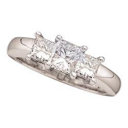 0.81 CTW Princess Diamond 3-stone Bridal Engagement Ring 14KT White Gold - REF-97N4F
