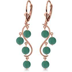 Genuine 4 ctw Emerald Earrings Jewelry 14KT Rose Gold - REF-76W6Y