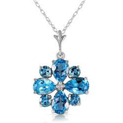 Genuine 2.43 ctw Blue Topaz Necklace Jewelry 14KT White Gold - REF-29R7P