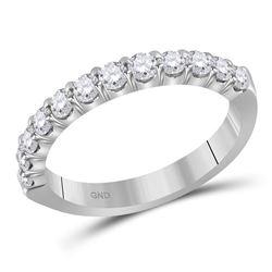 0.50 CTW Diamond Single Row Wedding Ring 14KT White Gold - REF-59M9H