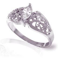 Genuine 0.20 CTW White Topaz Ring Jewelry 14KT White Gold - REF-47K2V