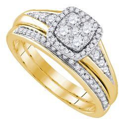 0.63 CTW Diamond Cluster Halo Wedding Bridal Ring 14k Yellow Gold - REF-97N4F