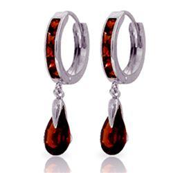 Genuine 4.3 ctw Garnet Earrings Jewelry 14KT White Gold - REF-53W8Y