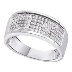 0.30 CTW Mens Diamond Micropave Wedding Anniversary Ring 10KT White Gold - REF-33M7H