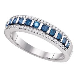 0.35 CTW Blue Color Diamond Unique Ring 10KT White Gold - REF-25H4M