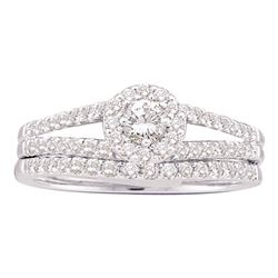 0.63 CTW Diamond Split-shank Halo Bridal Engagement Ring 14KT White Gold - REF-67W4K