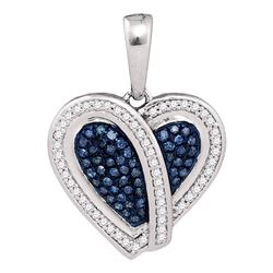 0.25 CTW Blue Color Diamond Heart Pendant 10KT White Gold - REF-28F4N