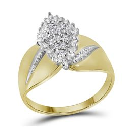0.12 CTW Diamond Oval Cluster Ring 14KT Yellow Gold - REF-37W5K
