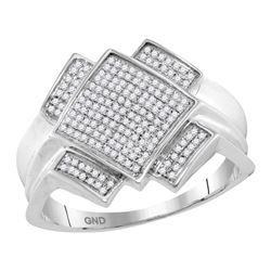 0.36 CTW Mens Pave-set Diamond Diagonal Square Cluster Ring 10KT White Gold - REF-44H9M