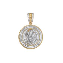 0.85 CTW Mens Diamond Praying Prayer Hands Medallion Charm Pendant 10KT Yellow Gold - REF-85Y4X