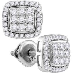 0.95 CTW Diamond Square Cluster Screwback Earrings 10KT White Gold - REF-59W9K