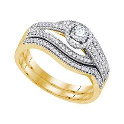 0.38 CTW Diamond Halo Bridal Engagement Ring 10KT Yellow Gold - REF-57N2F