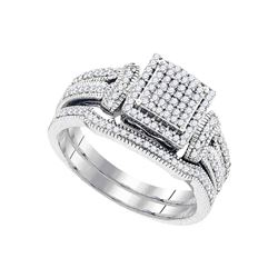 0.40 CTW Diamond Cluster Bridal Engagement Ring 10KT White Gold - REF-41H9M