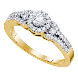 0.50 CTW Diamond Solitaire Halo Bridal Engagement Ring 14KT Yellow Gold - REF-64F4N