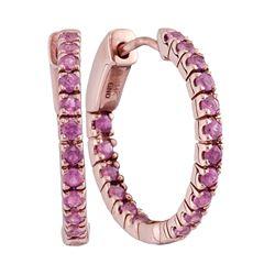 1.25 CTW Ruby In/Out Hoop Earrings 14KT Rose Gold - REF-52X4Y