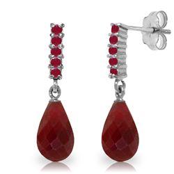 Genuine 7 ctw Ruby Earrings Jewelry 14KT White Gold - REF-32N3R