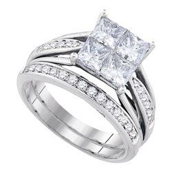 2 CTW Princess Invisible-set Diamond Wedding Bridal Ring 14k Yellow Gold - REF-389N9F