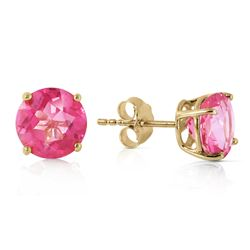 Genuine 3.1 ctw Pink Topaz Earrings Jewelry 14KT Yellow Gold - REF-25W3Y