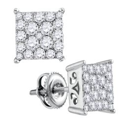 0.95 CTW Diamond Square Cluster Stud Earrings 10KT White Gold - REF-59Y9X