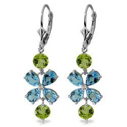 Genuine 5.32 ctw Blue Topaz & Peridot Earrings Jewelry 14KT White Gold - REF-50R3P
