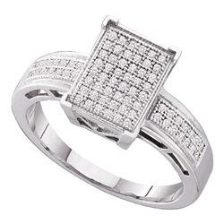 0.20 CTW Diamond Rectangle Cluster Bridal Engagement Ring 10KT White Gold - REF-26F9N
