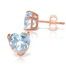 Genuine 3.25 ctw Aquamarine Earrings Jewelry 14KT Rose Gold - REF-28T5A