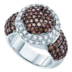 2 CTW Cognac-brown Color Diamond Halo Cluster Ring 10KT White Gold - REF-104N9F