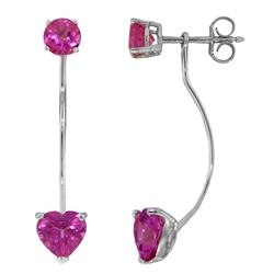 Genuine 4.55 ctw Pink Topaz Earrings Jewelry 14KT White Gold - REF-30H6X