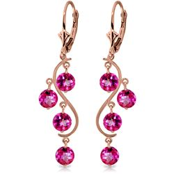 Genuine 4.95 ctw Pink Topaz Earrings Jewelry 14KT Rose Gold - REF-55H2X